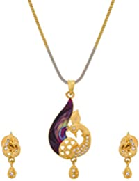 Aadita Peackock Design Gold Plated Pendant Set With Earrings For Women And Girls