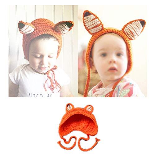 NROCF Neugeborene Fotografie Kleidung, Kleine Fox-Style Hand Häkeln Hut, Geeignet Für Kinder Im Alter Von - Fox Hut Kostüm