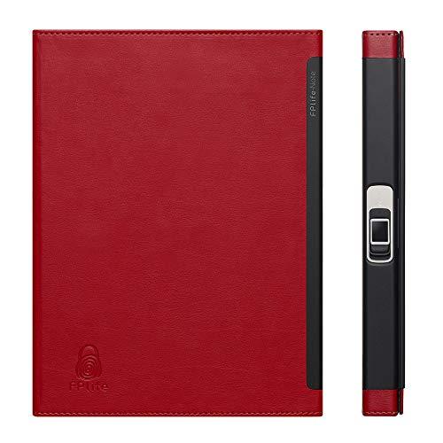 Aibecy FPlife Technology Fingerprint Lock Notebook Journal-Planer mit hochwertigem PU-Cover A5 Liniertes Papier mit Stick Note Card Pocket für Business-Studenten (Card Note Pocket)