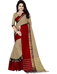 Dheylu Creation Silk & Georgette Saree With Blouse Piece (Saree-Multi-Coloured_Free Size) (Red & Cream)