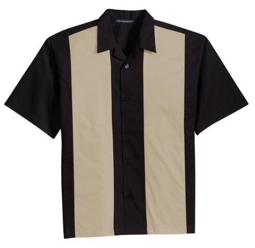 Port Authority® Retro Camp Shirt. S300 Black/Light Stone XL