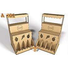 Kit para hacer kiosco de madera DM para candy bar mesa dulce. Manualidades con madera