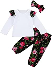 3pc Toddler Bambino Maniche Lunghe Floreali Abbigliamento & Stampa Floreale Pantaloni & Fascia Abiti Set