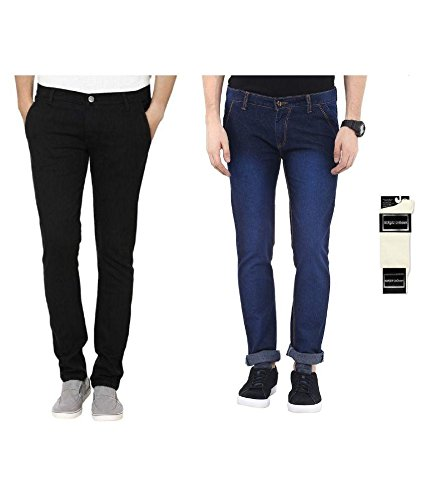 Urbano Fashion Pack of 2 Blue & Black Slim Fit Stretch Jeans...