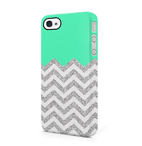 Silver Glitter Sparkle Chevron Turqoise Block Pattern Print iPhone 4 / 4S Hard Plastic Phone Case Cover