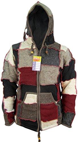 Little Kathmandu da uomo in lana naturale Elf Wizard Pixie Patch Festival giacca con cappuccio Red Grey Patch X-Large