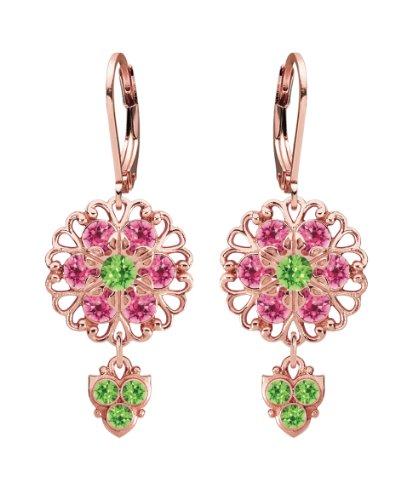 Lucia costin argento, rosa, verde chiaro cristallo swarovski orecchini e argento sterling/placcato oro rosa, colore: green/silver, cod. 350-010201-061