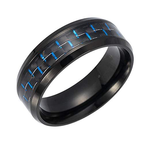Newin Star Ring aus Titan, Modeschmuck Herrenring mit Carbonfaser Inlay aus Kohlefaser Diam. 20.7mm 1Pc Blau (Grün Titan Kohlefaser Ring)