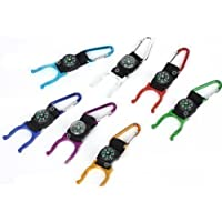 Carabiner Water Holder Bottle Clip Strap With Compass Camping Hiking