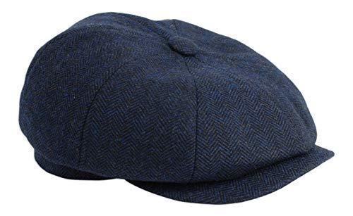 2fce6a81c20b5 Gamble   Gunn  Shelby  Newsboy Button Top Cap Blue Herringbone ...