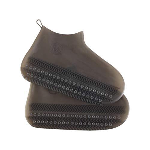 Igemy M Schuhüberzug mit Rutschfestem Saugnapf Regenbekleidung Stiefel Wiederverwendbar, Schneeschuhe Schuhe Überschuhe Wasserdicht Regenschutz, Silikon-Schuhüberzug Rutschfest 4 Farbe (Braun) -