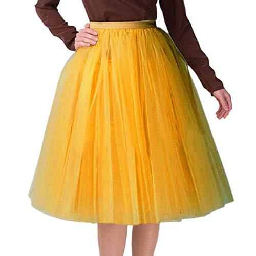 MIRRAY Damen Rock Qualität Plissee Gaze Knielangen Erwachsene Tutu Tanzen Minikleid Petticoat