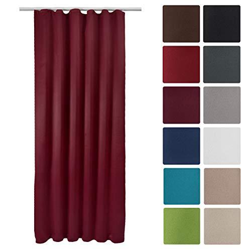 Beautissu Blackout-Vorhang Amelie BK mit Kräuselband - 140x245 cm Verdunklungsgardine Universalband Bordeaux-Weinrot & weitere Farben