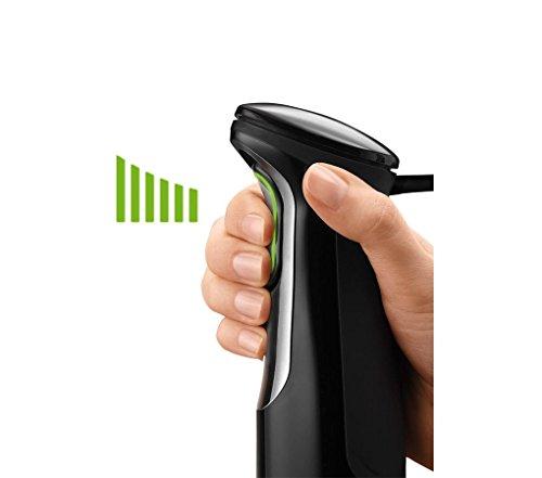 Braun Minipimer 7 MQ745 Aperif Batidora de Mano Eléctrica, Tecnología SmartSpeed, Campana Anti-salpicaduras, Paquete de Accesorios Premium, 750 W, Negro y Plata