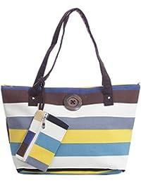 Stripe Canvas Tote Shoulder Bag Vintage Button Holiday Beach Free Purse