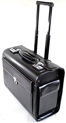 Unisex Schwarz Rädern Executive/Professional/Business Pilotenkoffer/Trolley Reisetasche/Fall (Pilot Fall Leder)