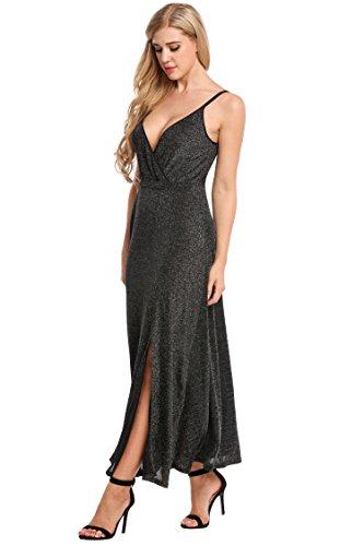 Zeagoo Elegant Damen Kleider Sexy Maxikleid Paillettenkleid Cocktailkleid Spaghettiträger Abendkleid Schwarz