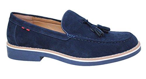 Mocassini uomo casual eleganti blu scarpe artigianali college in camoscio (40)