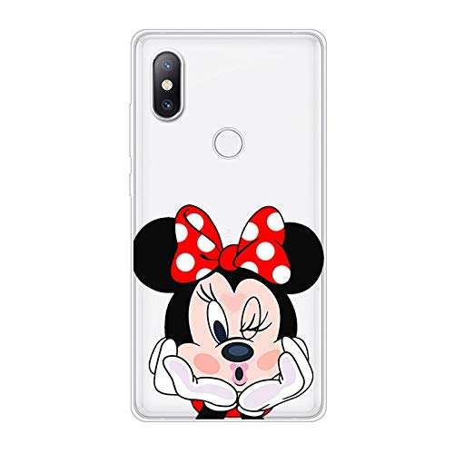 Aksuo Funda For Xiaomi Mi Mix 2S , TPU Anti-Rasguño Anti-Golpes Cover Protectora Transparente Claro TPU Caso Bumper Slim Silicona Case - Minnie