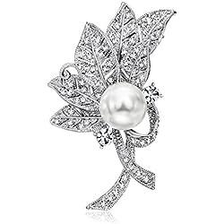 Broche Flor Perla Blanca Cristales Blanco