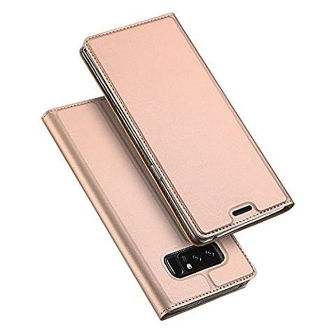 Samsung Galaxy Note 8 Coque,SMTR Ultra-mince Aimant intégré PU Cuir Flip Housse Étui Cover Case Wallet Portefeuille Supporter avec Carte de Crédit Fentes pour Samsung Galaxy Note 8 -Or Rose