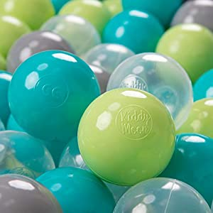 KiddyMoon 700 - Pelotas de plástico para niños, 7 cm de diámetro,, Color Verde Claro/Turquesa Claro/Gris
