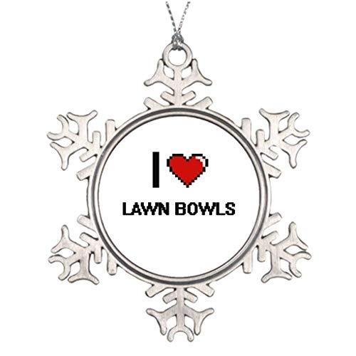 Monsety I Love Lawn Bowls Digital Retro Design Laser Tag Sport Making Weihnachten Weihnachten Schneeflocke Ornament 2018 Lustig Weihnachtsbaum Zweig Dekoration Andenken (Sport-ornamente, Weihnachten)