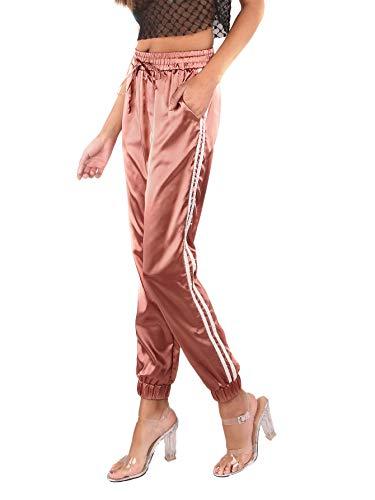 SOLY HUX Damen Satin Streifen Hose Pant,Damen Hose Casual Karottenschnitt Seitegestreift mittelhohe Taille mit Tunnelzug Hosen Pants Rosa S -