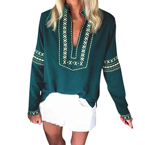Writtian Herbst und Winter Elegant Shirt Damen Hemd Langarm Casual Tops V-Ausschnitt Sexy Schulterfrei Casual Täglichen Nationaler Stil Bluse Retro Vintage Oberteile