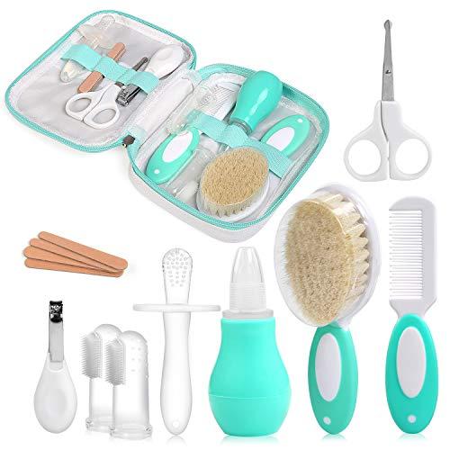 Newstyle set per la cura del bambino,comprende forbicine lima unghie tronchesine aspiratore nasale pettine spazzola massaggiagengive molar sticks