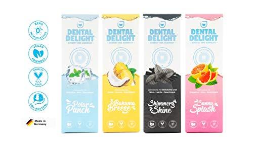 DENTAL DELIGHT Zahnpasta mit Geschmack | Prophylaxe & Whitening Toothpaste | Vegan, tierversuchsfrei, ohne Mikroplastik und Palmöl, klimaneutral (Testpaket, 4)