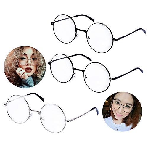 Ukainiemai 3 Paar Unisex Retro Runde Brille Metall Frame Schwarz,Silbern Farbe Metall Klare Linse Brillenfassungen Damen Herren Brillenfassung Fensterglas