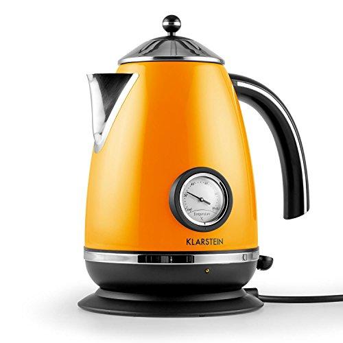 Klarstein • Aquavita Chalet • Wasserkocher • Teekocher • Retro Wasserkessel Design • 1,7 Liter • 2200 Watt • kabellos • Vintage Temperatur-Anzeige • Cool-Touch-Griff • orange -