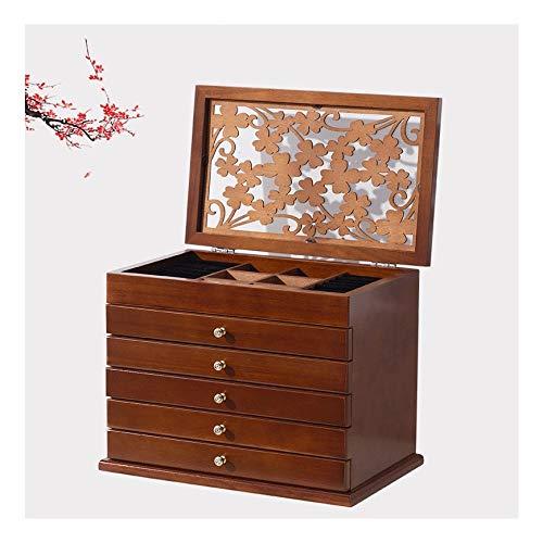 ZRYJWG Große Schmuck Organizer Box, Leder aus Holz Dekorative Schmuck-Speicher-Fall 6 Schichten for Armbänder, Ohrringe, Ringe, Halsketten, Broschen (Nussbaum Farbe) -