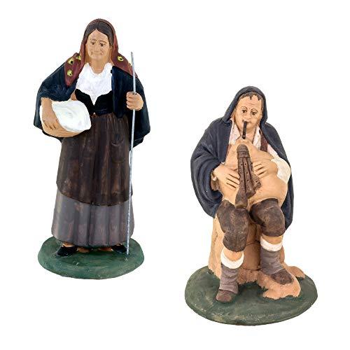 Set 2 personaggi presepe, statuine in terracotta decorate a mano zampognaro seduto + anziana con cestino, presepe in ceramica di caltagirone