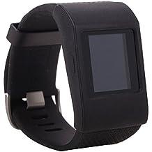 Greatfine Banda de reemplazo fino de reloj para cubierta de las bandas de pulsera Fitbit Surge SmartWatch(Gold Flower) (Black)