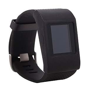 Greatfine Morbido vigilanza del silicone cinturino fascia di polso copertina Per Fitbit Surge (Black)