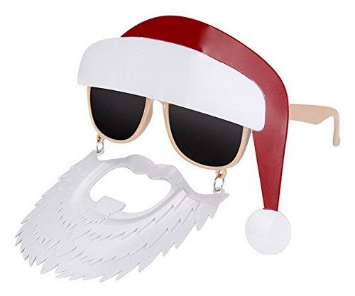 Lukis Lustige Brille mit Bart Weihnachtsmann Photo Booth Sonnenbrille Faschings Glasses Größe (Weihnachtsfeier Lustiges Für Die Kostüm)