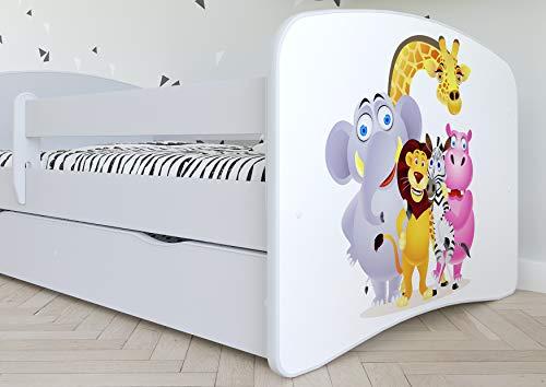 Kocot Kids Kinderbett Jugendbett 70×140 80×160 80×180 Weiß mit Rausfallschutz Matratze Schubalde und Lattenrost Kinderbetten für Mädchen und Junge – Fee mit Schmetterlingen 180 cm - 2