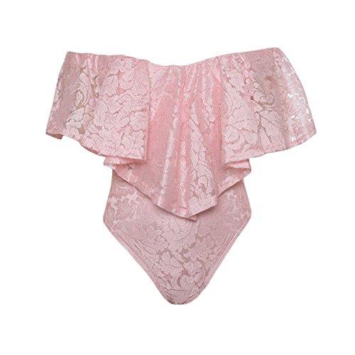 Baronhong Sexy Della Lotus Barca Collo Lingerie Per Donne Teddy Romper Una Tuta In Pigiama Rosa