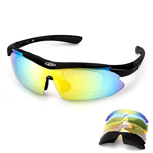 Aolead Fahrradbrille Sportbrille, Motorrad Polarisierte Brille Sonnenbrille mit UV400 Geschützter 5 Wechselgläser Extremes Leichtgewicht für Klettern Fahren Sports
