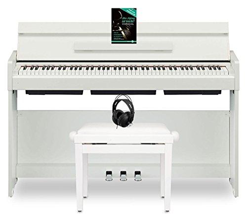 Yamaha YDP-S34 WH Arius Digitalpiano (88 Tasten auf GHS-Tastatur & mit Yamaha CFX-Tonerzeugung, das Set mit passender Pianobank, Komfort-Kopfhörer & Klavierschule, ideal für Anfänger & Profis) Weiß