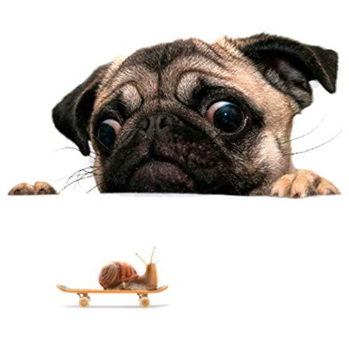 yuehuxin Lustig 3D Autofenster Aufkleber Mops Hund Uhr Schnecke Haustier Welpen Laptop Lastwagen Viny Aufkleber Wohndeko für Camping, Picknick und Andere Draußen Aktivitäten - ZYPA-801-N (Dekorieren Notebook)