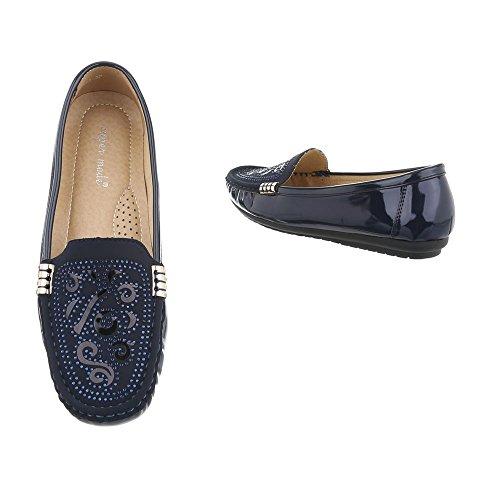 Ital-design Mocassini Scarpe Da Donna Mocassini Moderni Scarpe Con Tacco Basso Blu Scuro 593