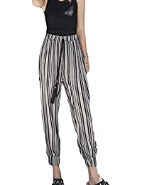 1734ab05fe ADELINA Mujer Pluderhose Fashion Elegantes Flecos Pantalones De Linterna  Anchas con Cordón Cintura Alta Hippie Chic