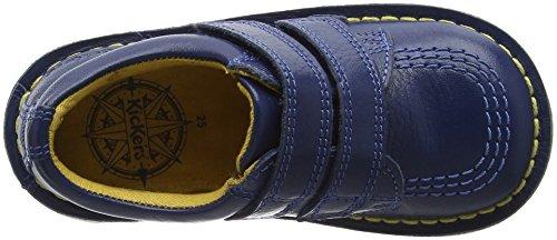 Kickers Lo Velcro, Mocassins Garçon Bleu (bleu foncé)