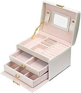 Meerveil Boîte à Bijoux, Coffret pour Bijoux Boîte à Maquillage Bijoux et cosmétique Beauty Case à 3 Couches en Simili Cuir avec 2 Tiroirs, Miroir et Serrure