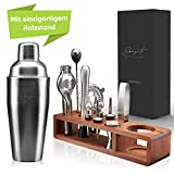 Skui'zi:to Selected Goods® Cocktail Set [15er Set] - Cocktail Shaker und Bar Zubehör aus Edelstahl - Mahagoni Holzstand mit Anti-Rutsch Pads - Gratis Rezeptbuch - 100% lebensmittelecht -