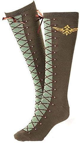 Nintendo Legend Of Zelda Skyward Sword Gold Royal Crest Knee High Socks Green