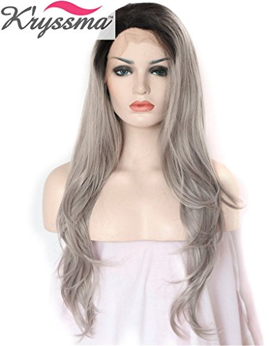 K'ryssma Grey Ombre Black Roots Natural Straight Soft Hair Synthetic Lace Front Wig for Women Natural Looking Full Wig Half Hand Tied Heat Safe 22 inch
